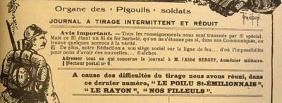 Fac-similé d'un article du dernier Poilu Saint-Emilionnais, édition de l'Entre-Deux Mers.