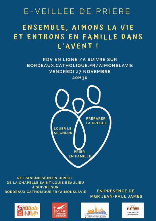 Affiche de la veillée de prière du Vendredi 27 novembre 2020, 20h30
