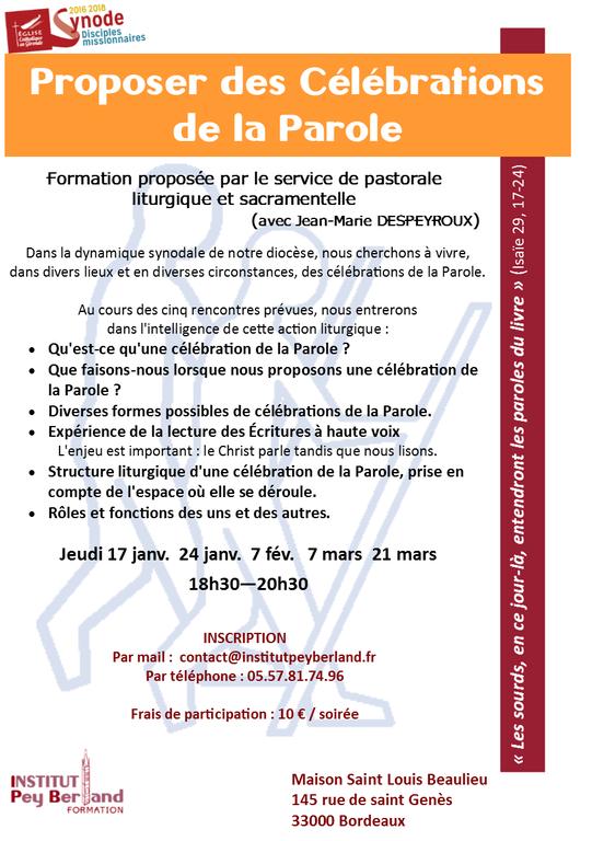 Affiche formation Proposer des célébrations de la Parole 2019