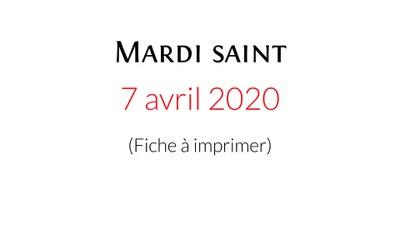 Téléchargez et imprimez la fiche de la célébration domestique proposée par la Pastorale liturgique et sacramentelle du diocèse de Bordeaux pour vivre ce Mardi saint.
