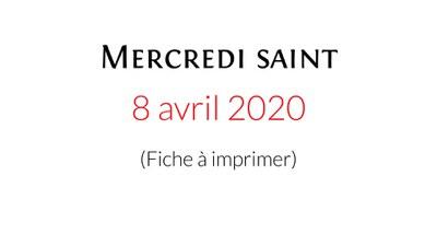 Téléchargez et imprimez la fiche de la célébration domestique proposée par la Pastorale liturgique et sacramentelle du diocèse de Bordeaux pour vivre ce Mercredi saint.